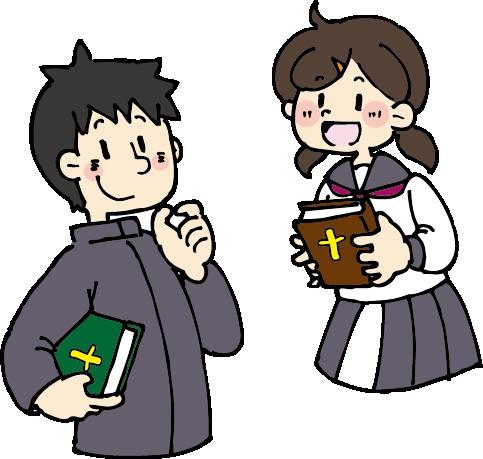 中高生の礼拝に来られる方へイラスト